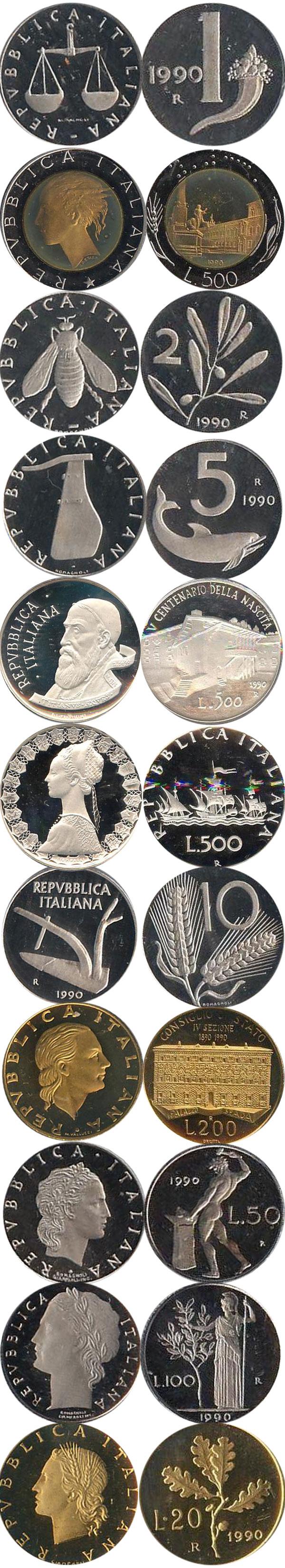 Картинка Подарочные монеты Италия 500-летие рождения Тициана  1990