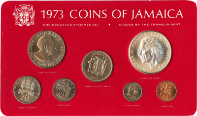 Изображение Подарочные монеты Ямайка Выпуск 1973 года 1973  UNC Подарочный набор 197