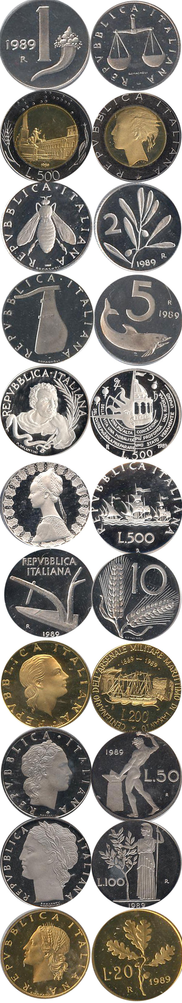 Картинка Подарочные монеты Италия Регулярный выпуск 89  1989