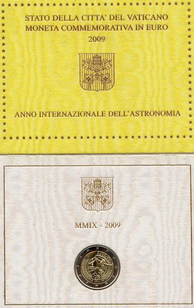 Изображение Подарочные монеты Ватикан Международный год астрономии 2009 Биметалл UNC Подарочный набор пос