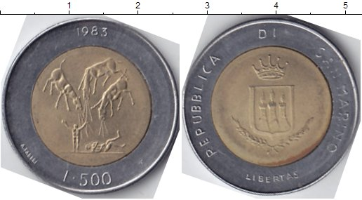Картинка Мелочь Сан-Марино 500 лир Биметалл 1983