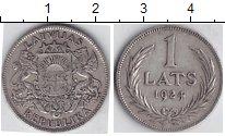 Изображение Мелочь Латвия 1 лат 1924 Серебро XF *