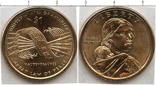 Картинка Мелочь США 1 доллар Медь 2010