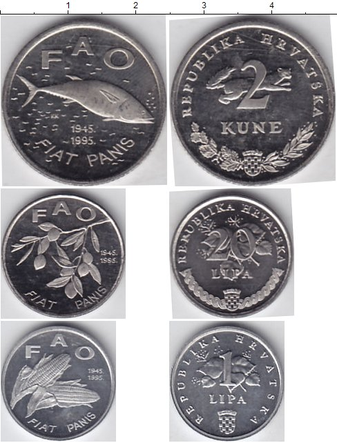 Картинка Наборы монет Хорватия Хорватия 1995  1995
