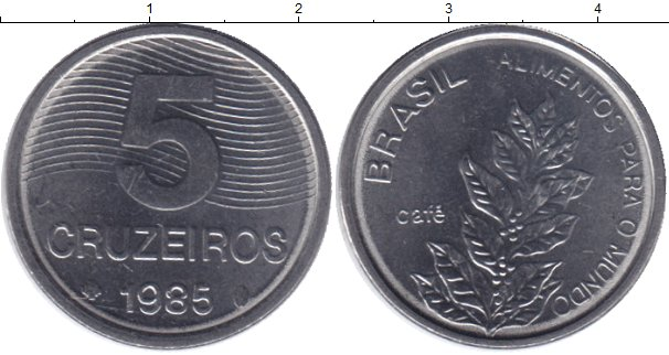 Картинка Мелочь Бразилия 5 крузейро Медно-никель 1985