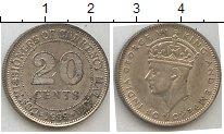 Изображение Мелочь Малайя 20 центов 1939 Серебро XF Георг VI