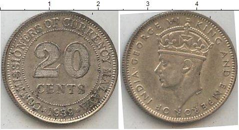 Картинка Мелочь Малайя 20 центов Серебро 1939