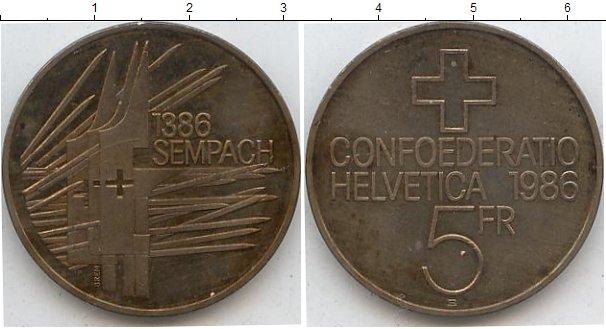 Картинка Мелочь Швейцария 5 франков Медно-никель 1986