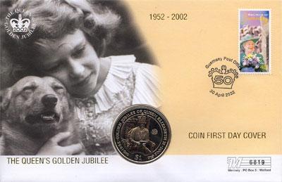 Изображение Подарочные наборы Виргинские острова Золотой юбилей королевы 2002 Медно-никель  Подарочный набор пос