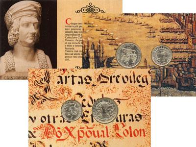 Изображение Подарочные монеты Италия 500- летие открытия Америки 1989 Серебро UNC Подарочный набор пос