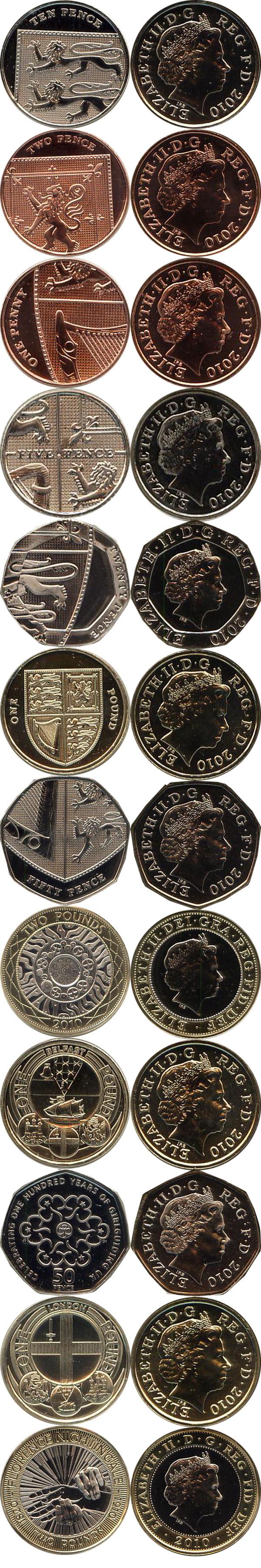 Картинка Подарочные монеты Великобритания Новые гербы 2010  2010