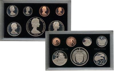 Изображение Подарочные монеты Новая Зеландия Регулярный чекан 1975 года 1975  Proof В наборе 7 монет ном