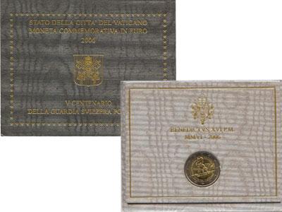 """Изображение Подарочные монеты Ватикан 500 лет швейцарским гвардейцам Ватикана 2006 Биметалл UNC """"Когда в 2006 году п"""