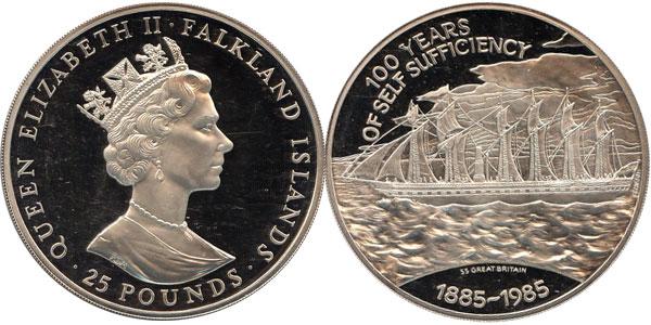 Картинка Подарочные монеты Фолклендские острова 100- летие независимости Серебро 1985