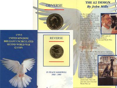 """Изображение Подарочные монеты Великобритания 2 фунта 1995 Медно-никель UNC """"Представляем Вам на"""