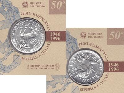 Изображение Подарочные наборы Италия 50-летие независимости 1996 Серебро UNC Подарочная монета по