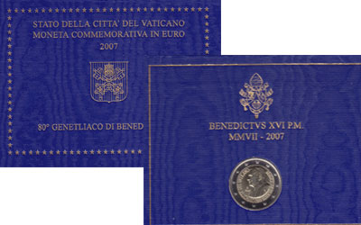 Изображение Подарочные монеты Ватикан 80-летие Бенедикта 2007 Биметалл UNC Подарочный набор пос