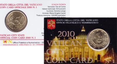 Изображение Подарочные монеты Ватикан 50 евроцентов 2010 Латунь UNC Подарочный набор пос