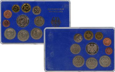 Изображение Подарочные монеты ФРГ Монеты 1976 (чеканка Мюнхен) 1976  UNC В наборе 9 монет 197