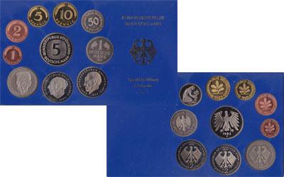 Изображение Подарочные монеты ФРГ Монеты 1983 (чеканка Карлсруэ) 1983  UNC В наборе 10 монет 19