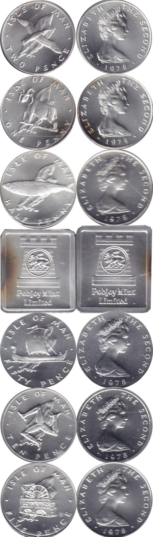 Картинка Подарочные наборы Остров Мэн Выпуск 1978 года в серебре Серебро 1978