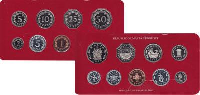 Изображение Подарочные монеты Мальта Набор монет 1976 года 1976  Proof