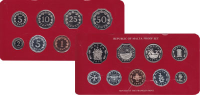 Изображение Подарочные монеты Мальта Набор монет 1976 года 1976  Proof Набор посвящен монет