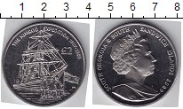 Изображение Мелочь Сендвичевы острова 2 фунта 2009 Медно-никель UNC- Елизавета II. Парусн