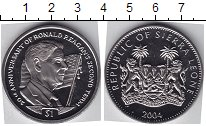 Изображение Мелочь Сьерра-Леоне 1 доллар 2004 Медно-никель UNC Р. Реаган