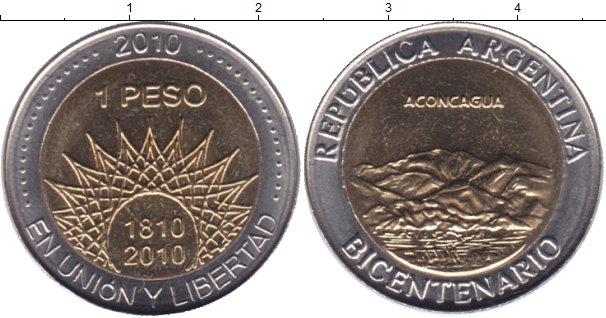 Картинка Мелочь Аргентина 1 песо Биметалл 2010