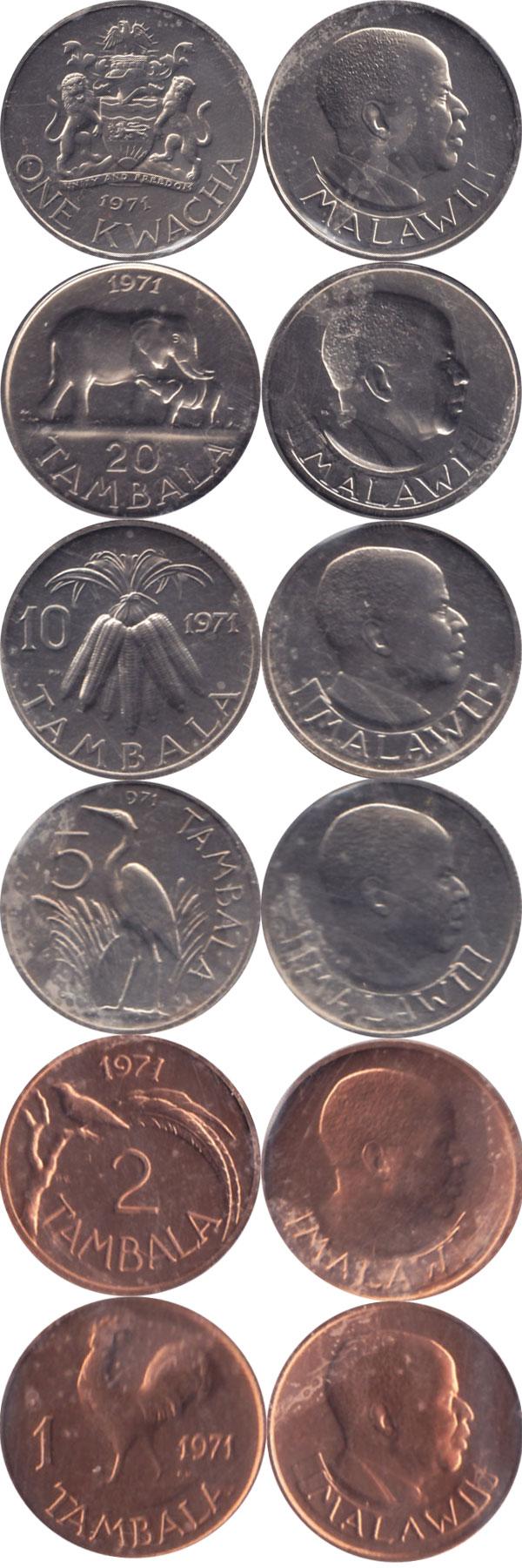 Картинка Подарочные наборы Малави Выпуск монет 1971 года  1971