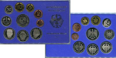 Изображение Подарочные монеты ФРГ Монеты 1991 (чеканка Карлсруэ) 1991  UNC В наборе 10 монет 19