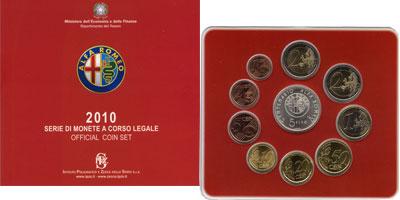 Изображение Подарочные монеты Италия 100-летие выпуска Альфа Ромео 2010 Серебро UNC