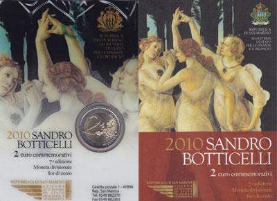 Изображение Подарочные монеты Сан-Марино Сандро Боттичелли 2010 Биметалл UNC