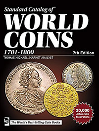 Изображение Книги о монетах Нумизматика Краузе 2016, Стандартный каталог монет 1701-1800 г, 0   7-е издание, декабрь