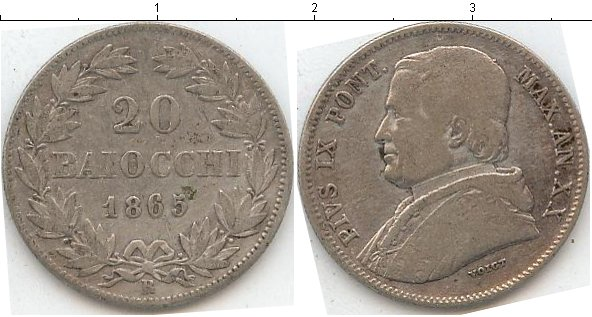 Картинка Монеты Ватикан 20 байочи Серебро 1865