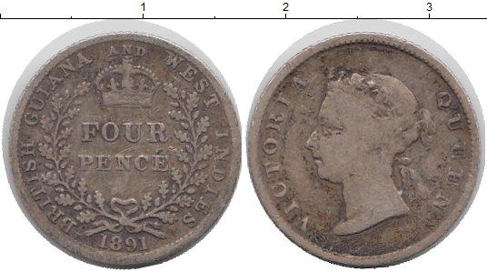 Картинка Мелочь Гайана 4 пенса Серебро 1891