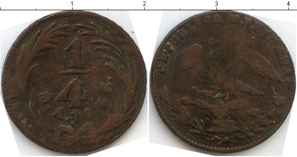 Картинка Монеты Мексика 1/4 реала Медь 1836