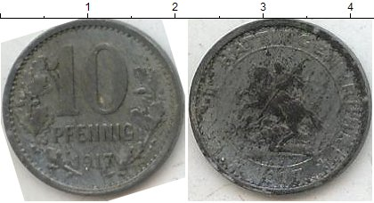 Картинка Нотгельды Хаттинген 10 пфеннигов Цинк 1917