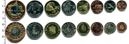 Изображение Наборы монет Гренландия Набор 2010 года 2010  UNC В наборе 8 монет ном