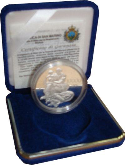 Изображение Подарочные монеты Сан-Марино 10.000 лир 2000 Серебро Proof `Подарочный набор по