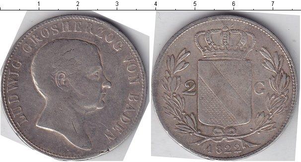 Картинка Монеты Баден 2 гульдена Серебро 1822
