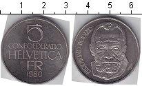 Изображение Мелочь Швейцария 5 франков 1980 Медно-никель XF Фердинанд Ходлер
