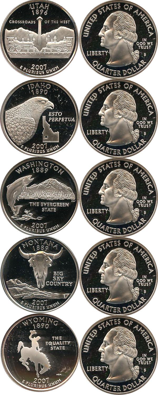 Картинка Подарочные монеты США Выпуск 2007 пруф-сет- квотеры Серебро 2007