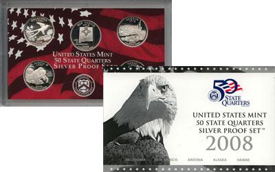 Изображение Подарочные монеты США Выпуск 2008 пруф-сет- квотеры 2008 Серебро Proof Подарочный набор Pro