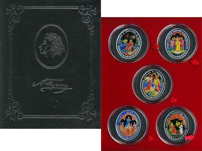 Изображение Подарочные монеты Беларусь Сказочные произведения А, С, Пушкина 2009 Серебро Proof `Подарочный набор по