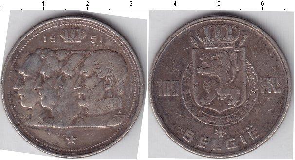 Картинка Монеты Бельгия 100 франков Серебро 1951