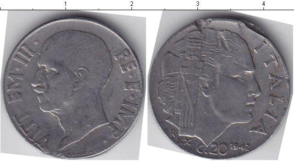 Картинка Монеты Италия 20 сентим Медно-никель 1942