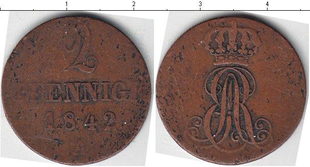 Картинка Монеты Ганновер 2 пфеннига Медь 1842