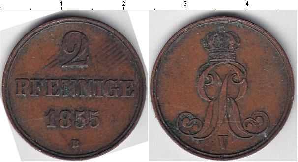 Картинка Монеты Ганновер 2 пфеннига Медь 1855